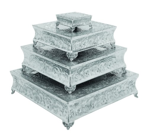 Deco 79 Aluminium Square Cake Stand Home Decor, 22 by 18 by 14 by 6-Inch, Set of 4