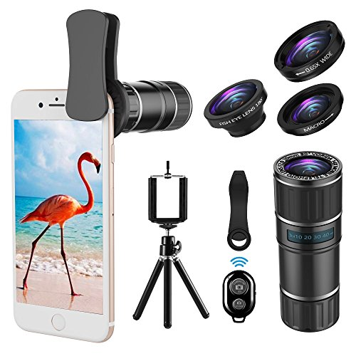 Phone Camera Lens, 4 in 1 Clip On Lens Kit, 14X Telephoto Lens + 180° Fisheye Lens + 15X Macro Lens + 0.65X Wide Angle Lens + Tripod & Phone Holder for iPhone x 8 7 6 plus, Samsung and Smartphone by UMTELE