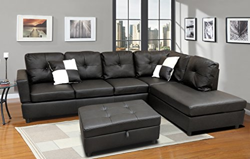 WINPEX 3 Piece Faux Leather Sectional Sofa Set with Free Storage Ottoman + left or right chaise (Black Sectional Couch)