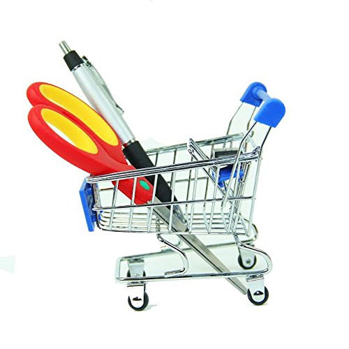 Mini Novelty Blue Shopping Cart Carriage Pen Pencil Supplies Holder With Wheels, Desk Accesory