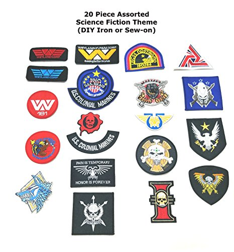 Cosply 20 Piece Logo Assortment Science Fiction Gaming Alien Weyland Movie Theme Costume Motif Embroidered (DIY Iron or Sew-on )Patch By Superheroes Brand (Black Widow Halloween Costume Diy)