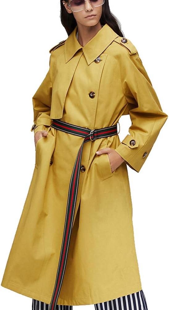 Byfjkkl Trench Coat Doppio Petto Moda Donna con Cintura Yellow