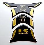 Kawasaki Ninja kanji Piano Black + matt Gold Motorcycle tank Protector pad Decal Sticker