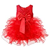 TiaoBug Baby Girls Flower Wedding Pageant Princess Bowknot Communion Party Dress Red 9-12