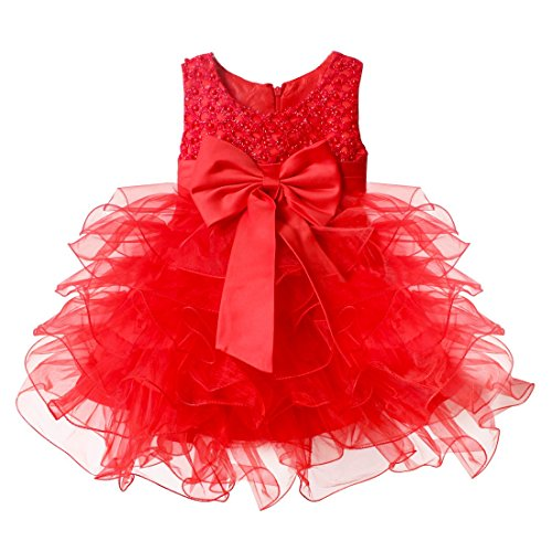 TiaoBug Baby Girls Flower Wedding Pageant Princess Bowknot Communion Party Dress Red 9-12 Months