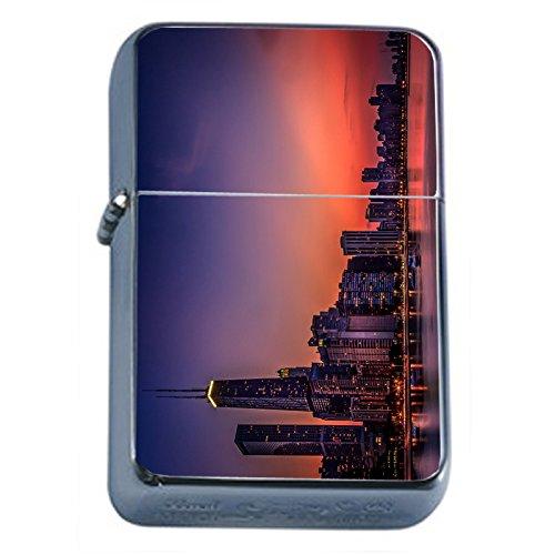 Chicago City Skyline Flip Top Oil Lighter S6 Smoking Cigarette Smoker Includes Silver Case Chicago Oil