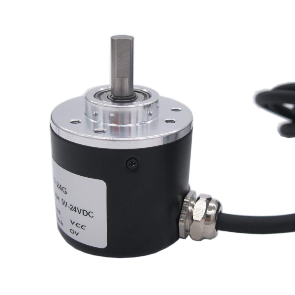 TWTADE///360P//R/Incremental/Rotary/Encoder/DC/5-24V/Wide/Voltage/Power/Supply/6mm/Shaft/AB/Two/Phases