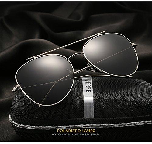 Mujer para para C3 Sol Hombre Gafas 400 Aviator C1 Protección UV De Polarizadas IYxXYqaf