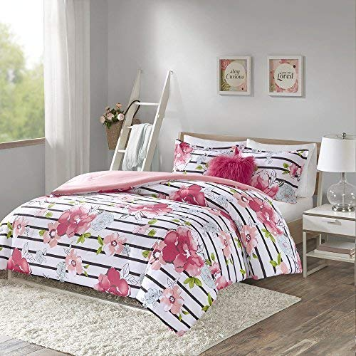 - Comfort Spaces Zoe 3 Piece Comforter Set Printed Striped Floral Design with Faux Long Fur Decorative Pillow Bedding, Twin, Pink