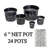 "Hydroponic Net Cup Pots + Twin Canaries Chart – 6"" Net Pot – 24 Pots For Sale"