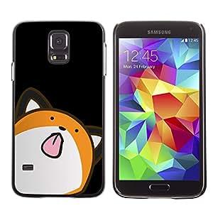 Qstar Arte & diseño plástico duro Fundas Cover Cubre Hard Case Cover para SAMSUNG Galaxy S5 V / i9600 / SM-G900F / SM-G900M / SM-G900A / SM-G900T / SM-G900W8 ( Cat Animation Drawing Art Licking Tongue)