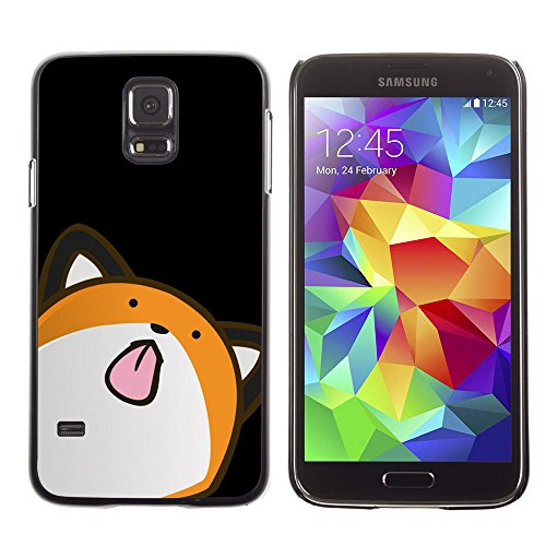 amsung Galaxy S5 cat animation drawing art licking tongue / Slim Black Plastic Case Cover Shell Armor