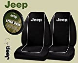 07 jeep cherokee seat covers - Jeep Logo PAIR Front Bucket Seat Covers & Jeep Comfort Grip Steering Wheel Cover & Jeep Keychain