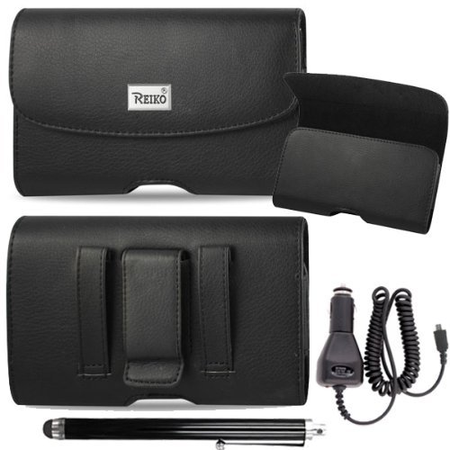 (Horizontal Executive Leather Case with Magnetic closure with belt clip loops for Kyocera DuraForce E6560 E6762 Comes with stylus pen and Car Charger.)