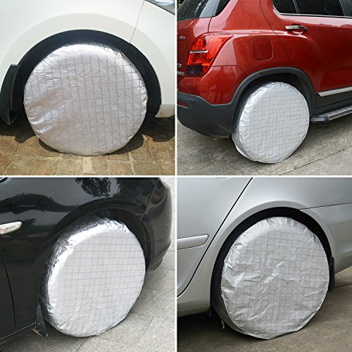 YBB Set of 4 RV Tire Wheel Covers Waterproof UV Sun Tire Protector Covers for Car Camper Fits 27 to 29 Tire Diameters Trailer Spare Tire Covers