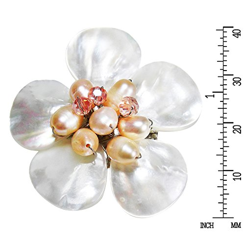 White Plumeria Mother of Pearl and Cultured Freshwater Pink Pearls Floral Pin/Brooch