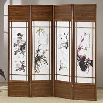 ADF 4-Panel Chinese Floral Painting Shoji Screen