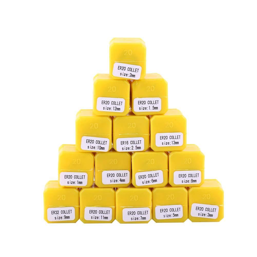 15pcs ER20 Ensemble de pinces pour machine de gravure CNC et outil de tour de fraisage 1-13mm Ensemble de pinces