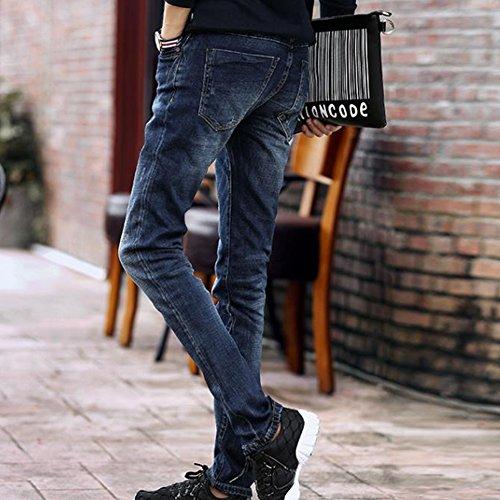 Engrosamiento Jeans Juventud Elasticidad Slim lápiz Hombres Denim Azul Pantalones OwXqaWn0C