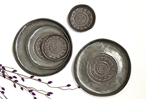 Handmade Pottery Plates Set - Dark Grey Organic Shape Textured Plates - Stoneware Plates - Stoneware Serving Plates in Grey Brown