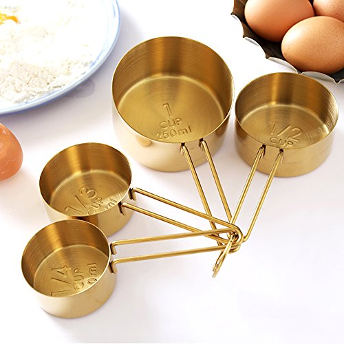 Homestia Stainless Steel Measuring Cups and Spoons Set of 8 Pcs Baking Cooking Utensils with Measurement for Dry and Liquid Ingredients, Gold