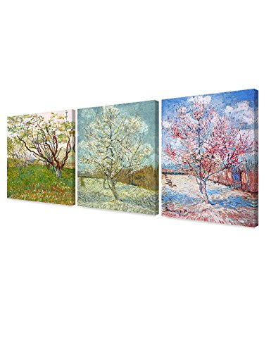 DECORARTS Triptych (Orchard in Blossom, The pink peach tree, Peach Trees in Blossom), Vincent Van Gogh Art Reproduction. Giclee Canvas Prints Wall Art for Home Decor 24x30, 3pcs/set ()