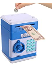 Piggy Bank for Kids, Password Electronic Coin Bank Money Saving Box, Auto Scroll Paper Money ATM Piggy Bank Great Gift for Boys and Girls (Blue)