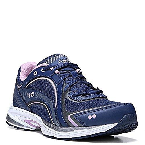 Ryka Women's Sky Walk Walking Shoes Navy / Lilac 8 / W and HDO Workout Headband Bundle