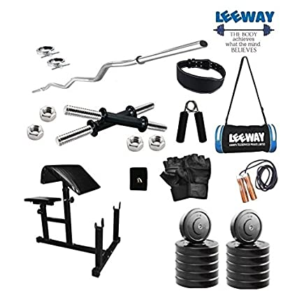 8d524ab253ba LEEWAY Premium Quality  Home Gym Set with 14   Dumbbell Rod