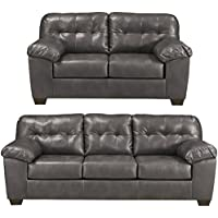 Flash Furniture Signature Design by Ashley Alliston Living Room Set in Gray DuraBlend