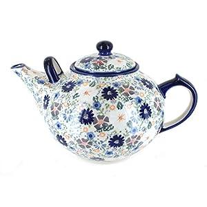 Blue Rose Polish Pottery Carnival Large Teapot