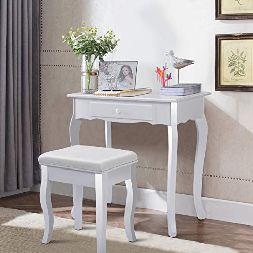 Giantex White Vanity Table Jewelry Makeup Desk Bench