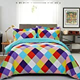 Top Finel Twin Bedding Set Duvet Cover 1 Pillowcase Silky Soft Hotel Quality Breathable Double Prited,2Pcs,Colorful Square&Turquoise