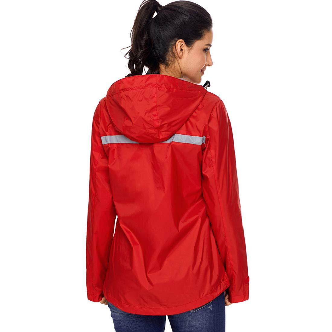 Alomoc Womens Waterproof Hooded Active Rain Jacket Mountaineering Windbreaker with Hood