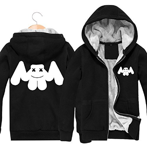 Meelanz Marshmello Face Zip Hoodies Plus Velvet Cardigan Hooded Sweater (M) by Meelanz