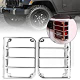 MALLOFUSA Metal Rear Tail Light Covers Trim Protector Guards Compatible for 2007-2017 Jeep Wrangler JK Mask Silver 2PCS