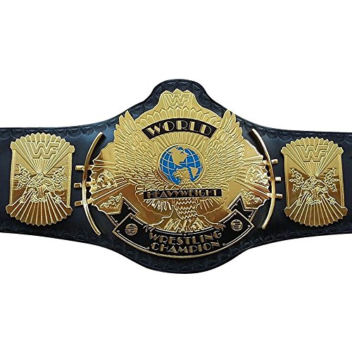- WWF/WWE Classic Gold Winged Eagle Championship Replica Belt 4mm Thick Plate Genuine Leather Black