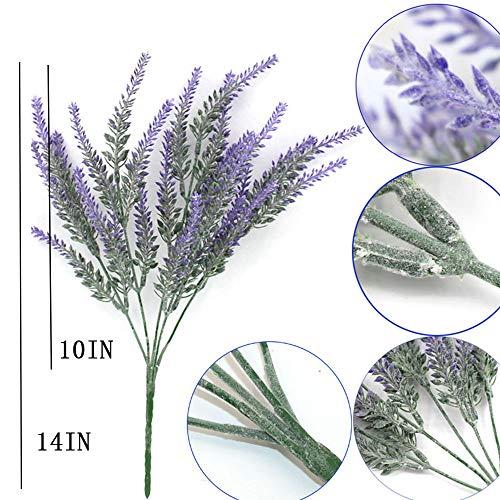YSBER 10 pcs Artificial Flocked Lavender Bouquet Fake Flowers Bunch Bridal Home DIY Floor Garden Office Wedding Decor-Purple