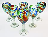 Mexican Glass, Wine, Hand Blown, Confetti Swirl or Liquid Confetti Design (Set of 6) 12 Oz