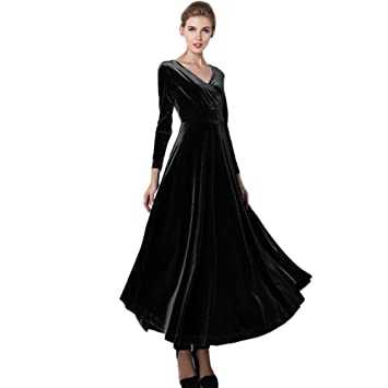 Women Dress Daoroka Sexy Plus Size V Neck Velvet Swing Casual