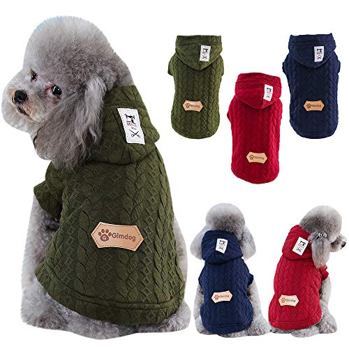 Glumes Dog Hoodie Sweatshirt for Cold Weather Windproof Dog Coat Reusable Winter Dog Sweater Autumn Pet Cotton Apparel for Small Medium Large Dog Outdoor Indoor Activities