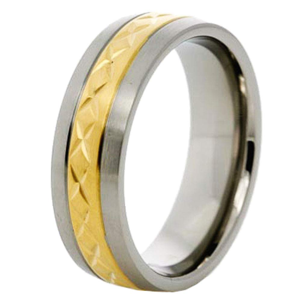 7mm Mens Titanium Ring Wedding Band Gold Plated Brushed Top Crisps Cross Groove Size 6-13 SPJ