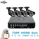 Hiseeu 8CH security camera system 1080N AHD Video DVR recorder with 4x HD 1200TVL 720P Night Vision Home waterproof Indoor Outdoor CCTV Cameras,4ch AHD Camera, Motion Alert, Mobile Remote View NO HDD