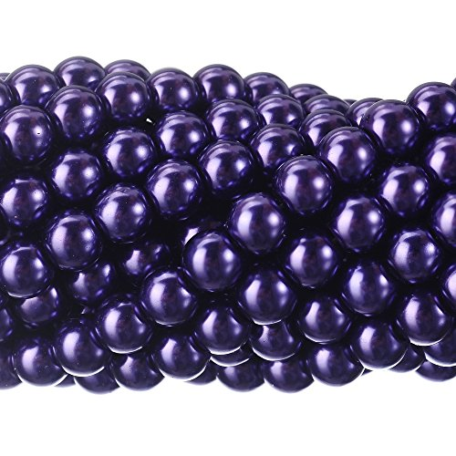 RUBYCA 200Pcs Czech Tiny Satin Luster Glass Pearl Round Beads Jewelry Making 10mm Amethyst Purple