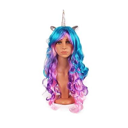 Peluca Unicornio 70cm Mujer pelo rizado estilo ondulado para la fiesta de Halloween Cosplay