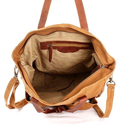 bagages bandoulière en Weekender à dentelle unisexe à sac cuir en XL Sac main bandoulière Sac Style à sac en à Vintage Sac Grand à Sac marron cognac et Sac bandoulière C en LECONI LE0040 35x39x20cm toile 61q4w6C