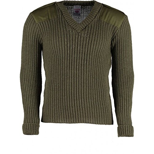 (York Woolly Pully Vee Neck Sweater with Patches with Epaulets (2XL / 52-54 inch, Olive Drab))