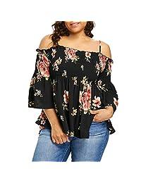 SamMoSon Women Floral Printing Cold Shoulder Half Sleeve Shirt Tops Blouse