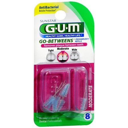 GUM Go-Betweens Proxabrush Refills Moderate [612] 8 Each (Pack of 3)