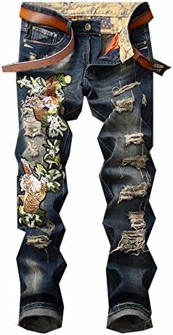 メンズ ジーンズ タイト ストレート デニム ブルー デニムパンツ ズボン スキニー テーパード 虎 刺繍 和柄 ダメージ 加工